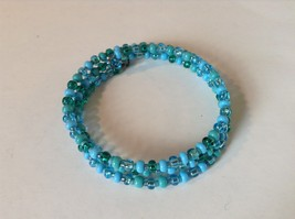 Pretty Light and Dark Blue Beaded Coil Adjustable Bracelet  image 4