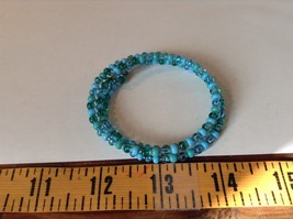 Pretty Light and Dark Blue Beaded Coil Adjustable Bracelet  image 5