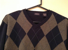 Navy Blue Gray with Classic Diamond Pattern IZOD Long Sleeve Sweater Size Medium image 3
