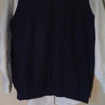Navy Blue Bass Casual Sweater Vest V Neck 100 Percent Cotton Size Medium image 3