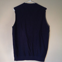 Navy Blue Bass Casual Sweater Vest V Neck 100 Percent Cotton Size Medium image 7