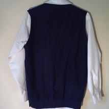 Navy Blue Bass Casual Sweater Vest V Neck 100 Percent Cotton Size Medium image 4