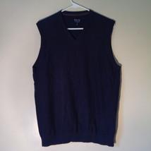 Navy Blue Bass Casual Sweater Vest V Neck 100 Percent Cotton Size Medium image 5
