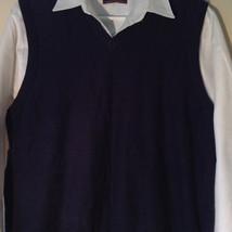 Navy Blue Bass Casual Sweater Vest V Neck 100 Percent Cotton Size Medium image 2