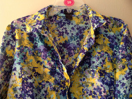 Navy Blue Yellow Floral Button Up Shirt by Ann Taylor V Neckline Collar Size 14 image 2