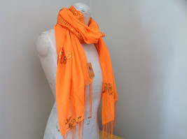 Neon Orange Sheer Scarf with Sequin Designs and Tassels Length 68 Inches image 2