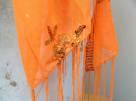 Neon Orange Sheer Scarf with Sequin Designs and Tassels Length 68 Inches image 5