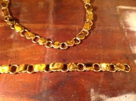 Necklace and Bracelet Set Cats Eye Gold Tone Setting image 3