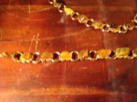 Necklace and Bracelet Set Cats Eye Gold Tone Setting image 2