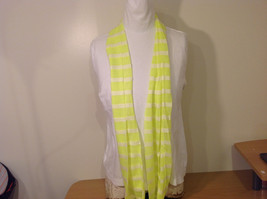 Neon Lime Striped Fashion Infinity Scarf New Lemon Lime White image 2