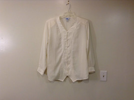 Ship N Shore White V Neck Button Up Top Side Slits Embroidery on Front Size 20W image 1