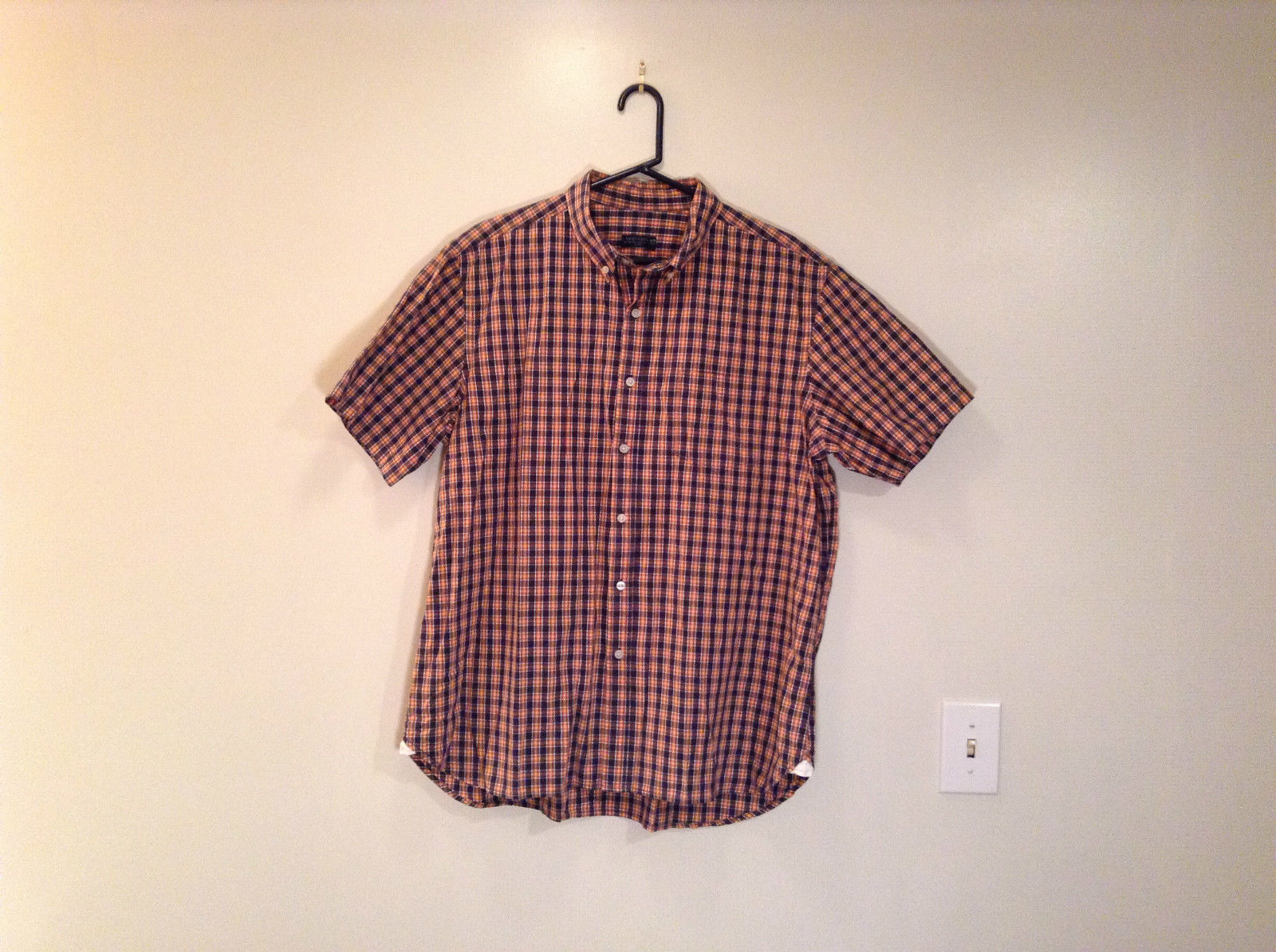 Short Sleeve Faded Glory Size XL 46 to 48 Orange Dark Blue Plaid Pattern Shirt