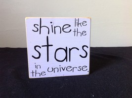 Shine Like the Stars in the Universe Purple Wooden Sign Measurements Below