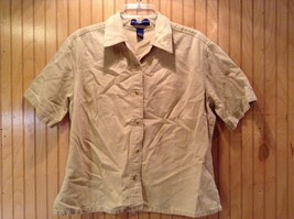 Short Sleeve Brown Crystal Springs Button Down Collared Shirt Size Large