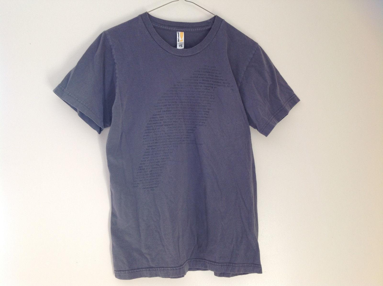 Shirt Woot Poe Raven Shape Poem Gray Short Sleeve T-Shirt Small following