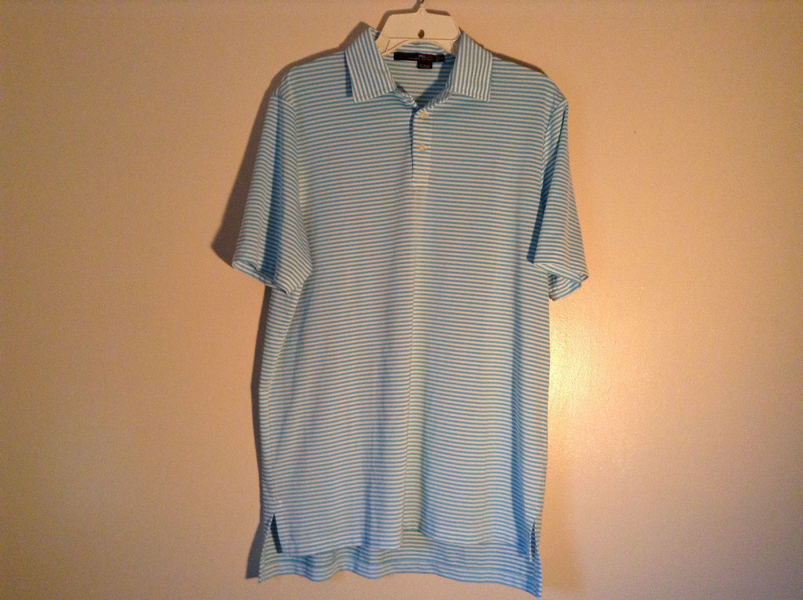 Short Sleeve Blue and White Striped Ralph Lauren Polo Casual Shirt Size Medium