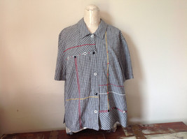 Short Sleeve Collared Button Down Black and White Check Pattern Shirt Size 16W