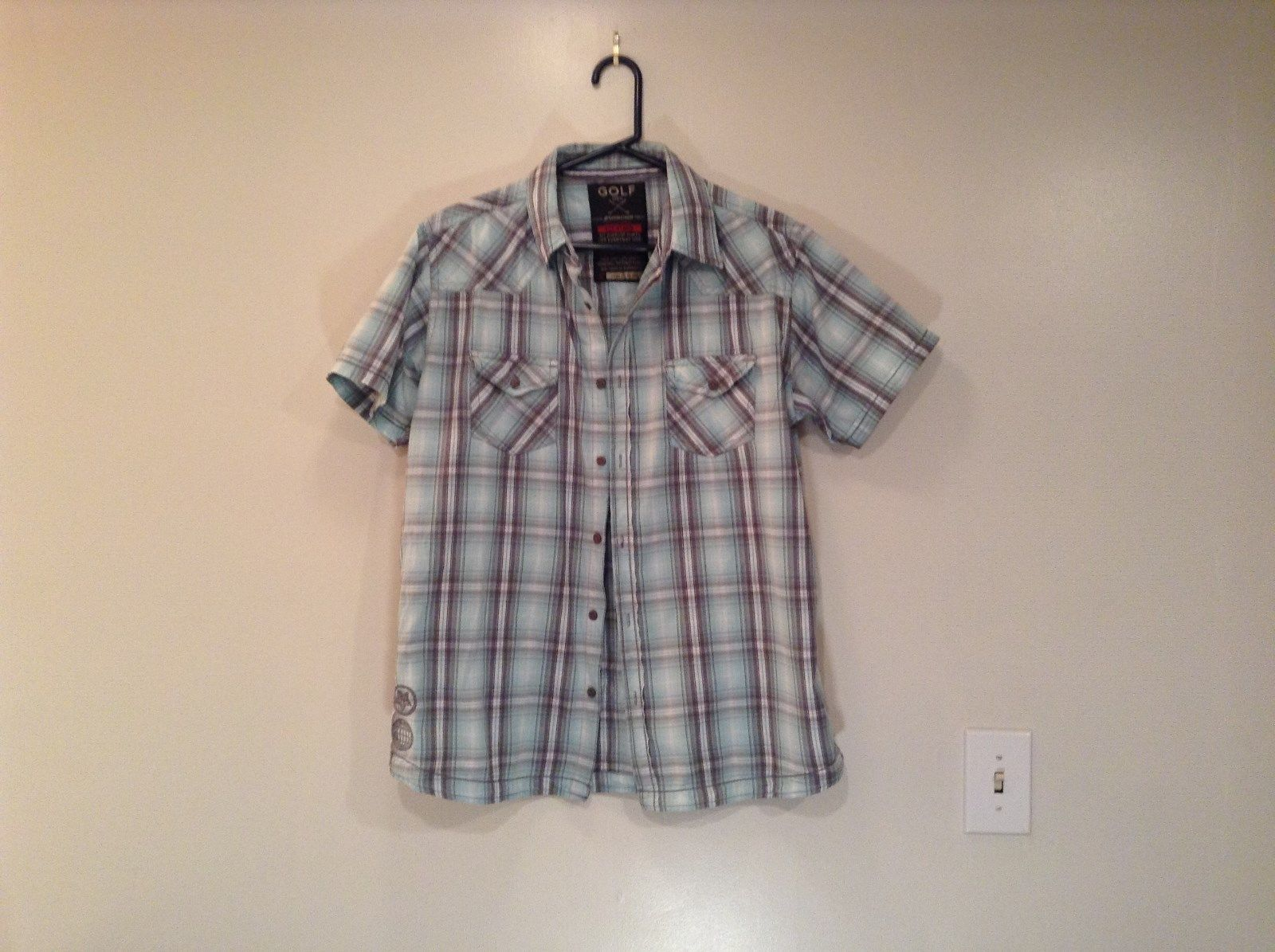 Short Sleeve Golf Men Sizes XL 100 Percent Cotton Blue Green Plaid Shirt