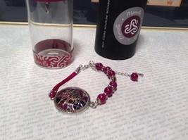 Silver Tone Bracelet Mandala Lizard Violet Beads Adjustable Length Awareness