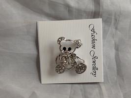 Silver Tone Bear with White Crystals Brooch/Pin Black Stone Eyes Pin Closure