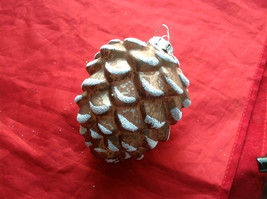 New Melrose Glass Pinecone Ornament Snow on Tips -  4 Inches High Brown Lt or Dk image 3