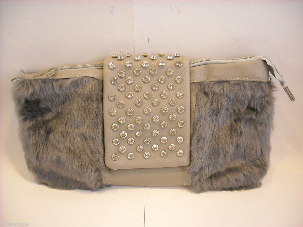 Shoulder Bag with Silvery Gray Faux Fur and Gray Faux Leather