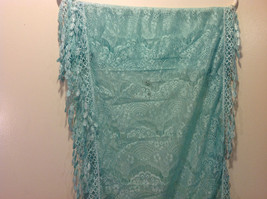 New Infinity Scarf with Lace Fringe Mint Color Polyester image 4