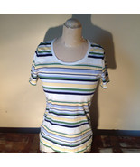 Short Sleeve White Stag 100 Percent Cotton Multicolored Striped Shirt Si... - $39.99