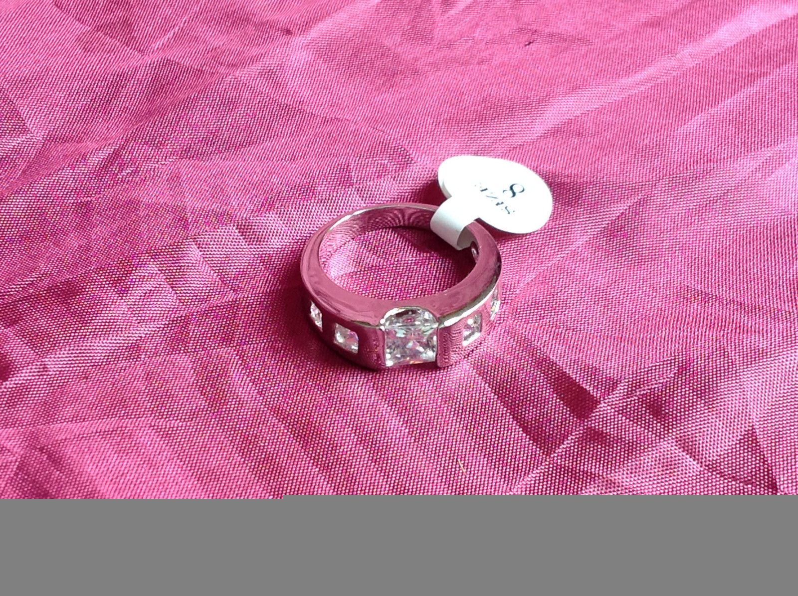 Silver Rhodium and  CZ Stone  Ring  Square Cut Stones with Large Stone Size 8