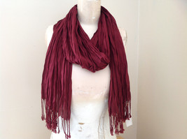 Silk Cotton Scrunch Style Scarf Maroon Color with Tassels by Look Tag Attached