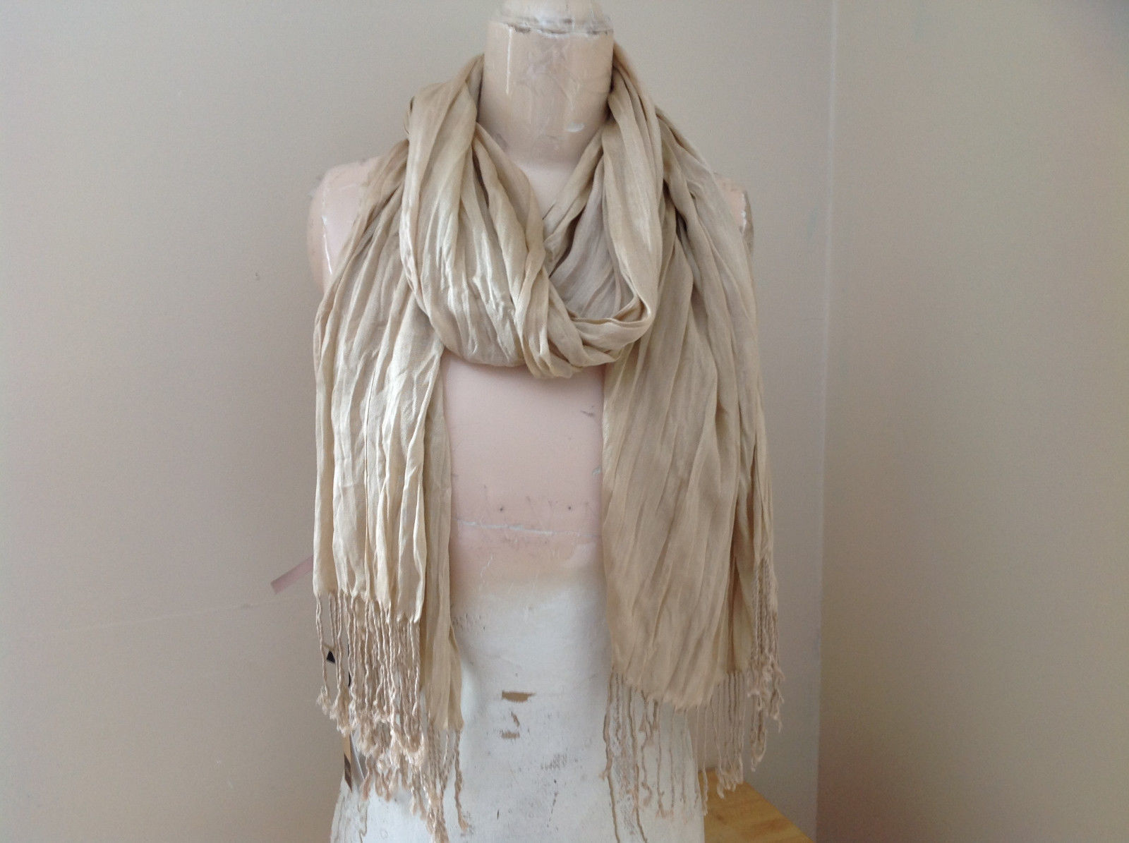 Silk Cotton Tan Scrunch Style Scarf with Tassels by Look Tag Attached