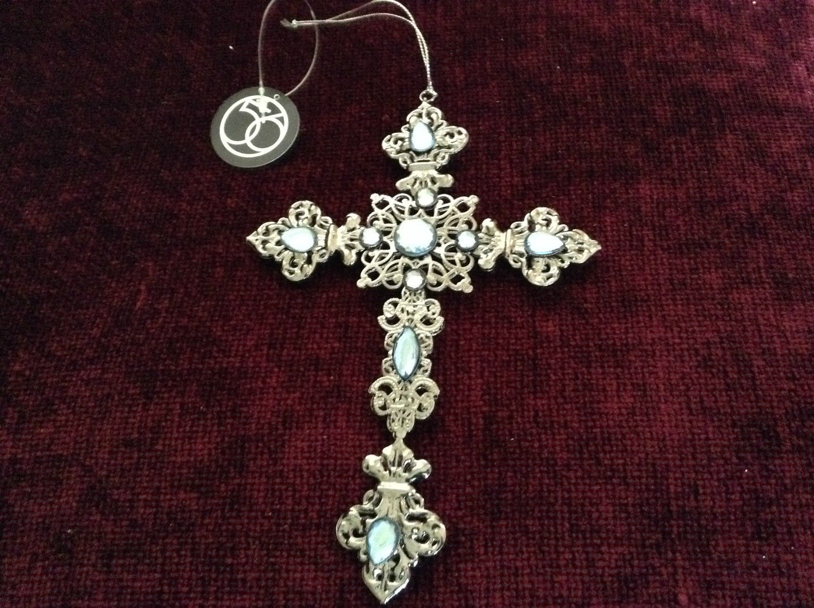 Silver Blue Jewel Cross Ornament Department 56 New With Tag
