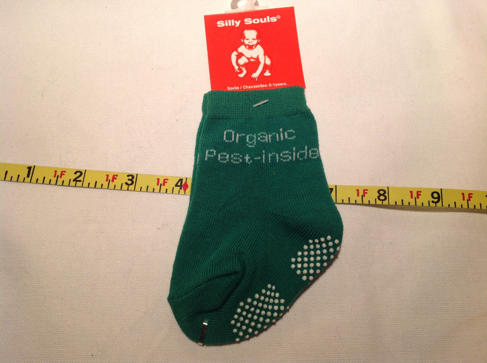 Silly Souls Organic Green Pest Socks Size 0 to 1 Year
