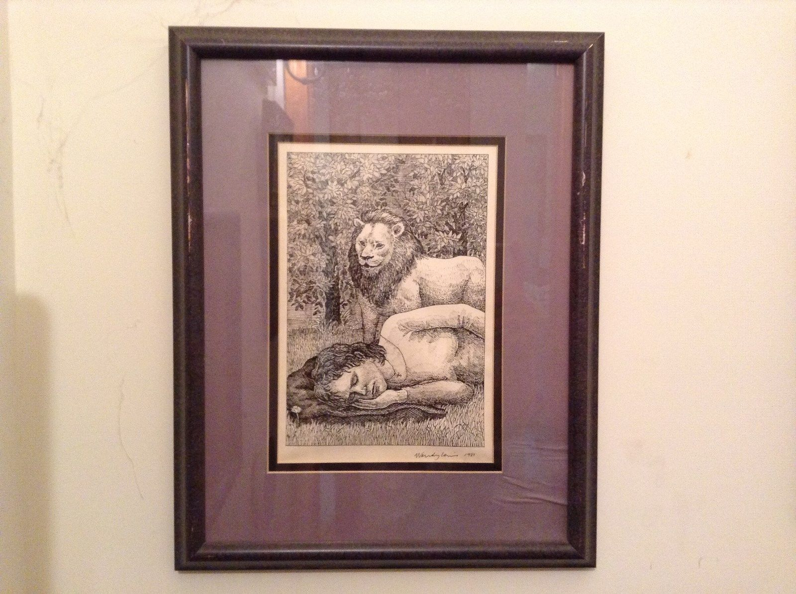 Signed Framed Pen Art by Wendy Lewis 1981 Man Sleeping Being Watched by Lion