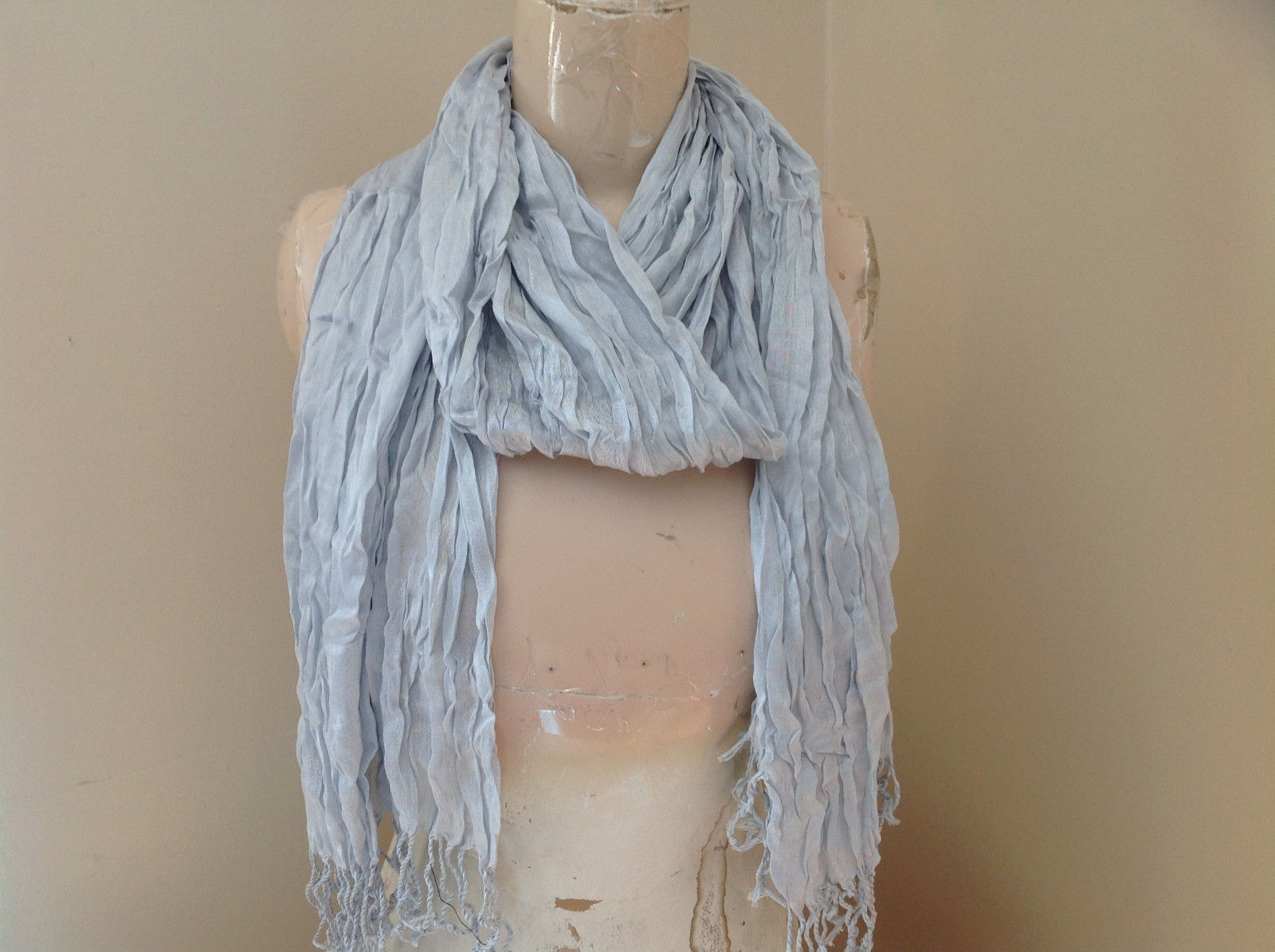 Silk Cotton Blend Heather Gray Scrunched Style Tasseled Scarf TAGS ATTACHED