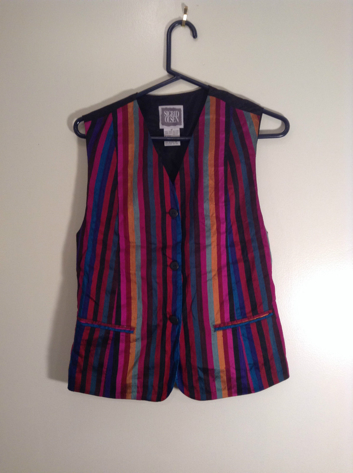Sigrid Olsen Striped Red Orange Blue Black Short Sleeve Lined Vest Size M