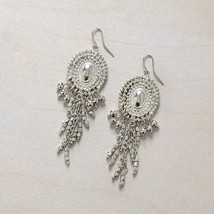 Silver Bead Drop Earring Dangle 3 1/2 inch length