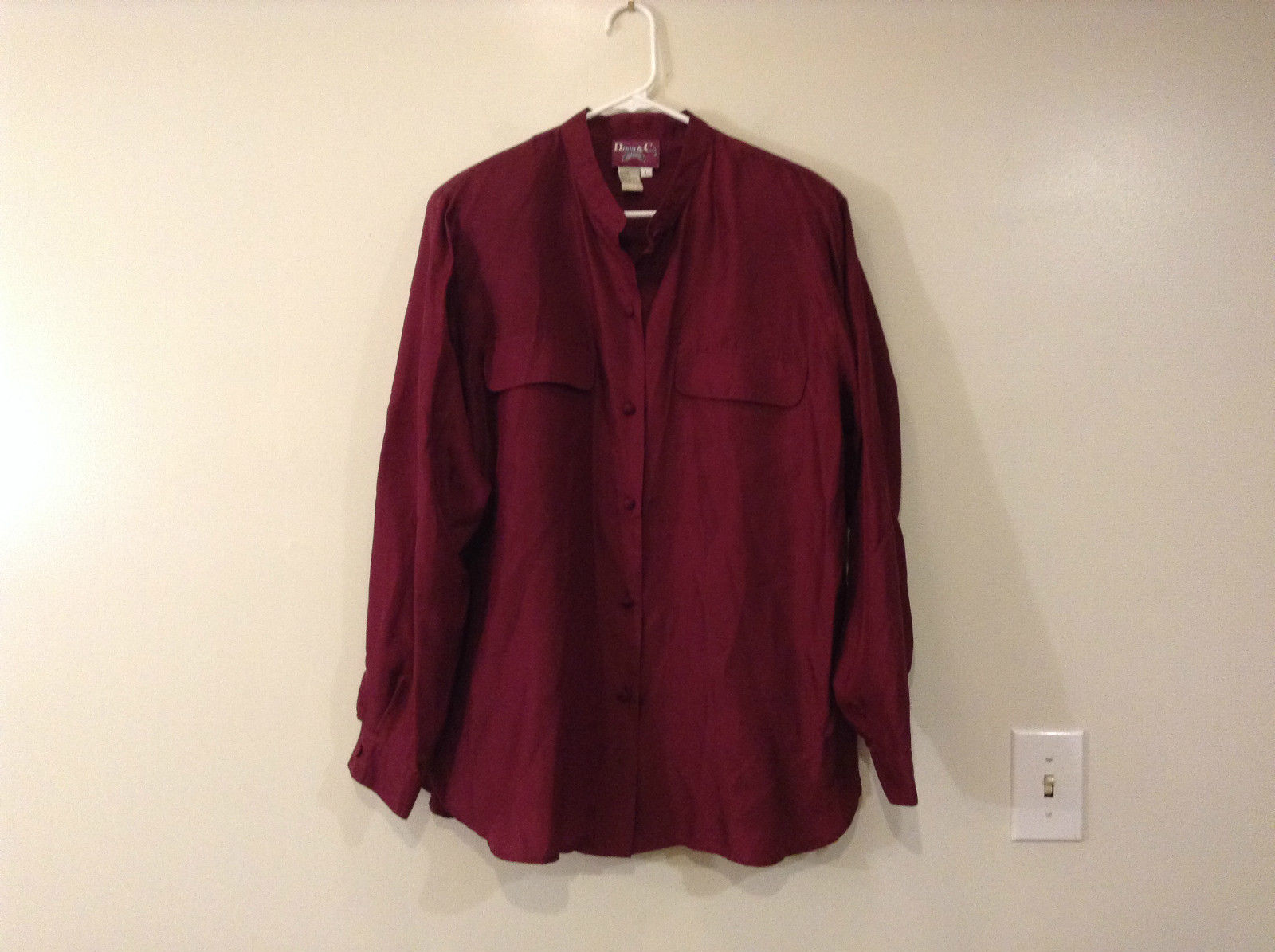 Silk Dark Deep Pink Button Up Long Sleeve Shirt Size L Denim and Company