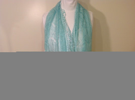 New Infinity Scarf with Lace Fringe Mint Color Polyester image 2