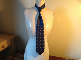 Silk Blue with White and Gold Diamond Shape Tie Made in Italy Equestrian Firenze