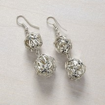 Silver Mesh Drop Earring Wrapped Spheres