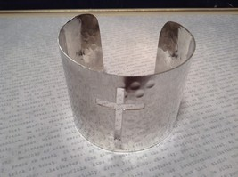Silver Plated Cuff Bracelet Christian Cross Silver Sterling 925 Handcrafted