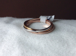 Silver Gold Rose Gold Plated Triple Crossover Bands Ring Size 7.75 and 6.5
