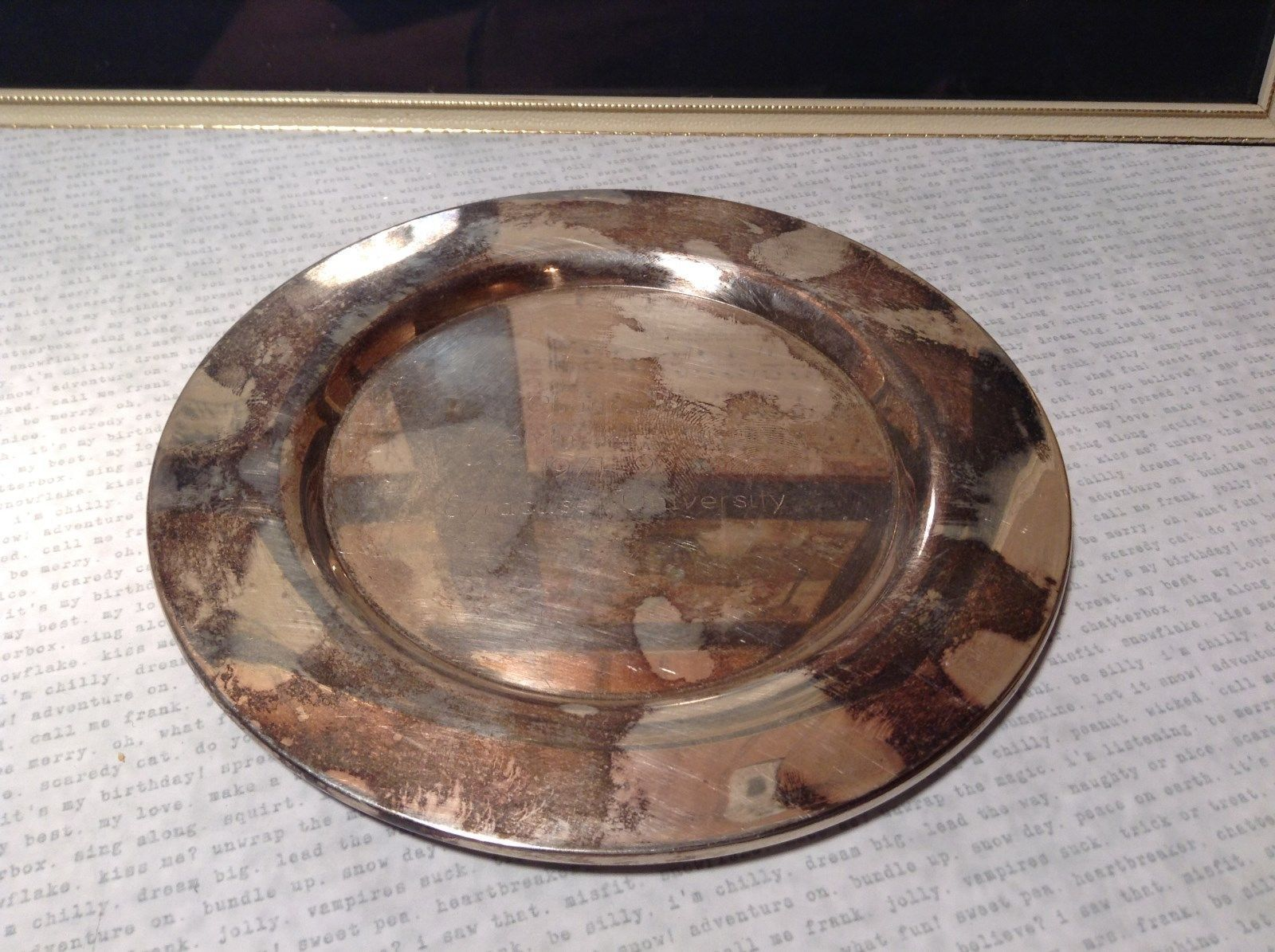 Silver Oneida Plate Chancellor Melvin A. Eggers 1971 to 1991 Syracuse University