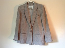 Silver Gray and Black Striped Blazer Suit Jacket Vintage Shoulder Pads Size 12 image 1