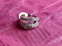 Silver Rhodium CZ Stone  Ring 3 Band Stacking Design Oval Stone Size choices image 1