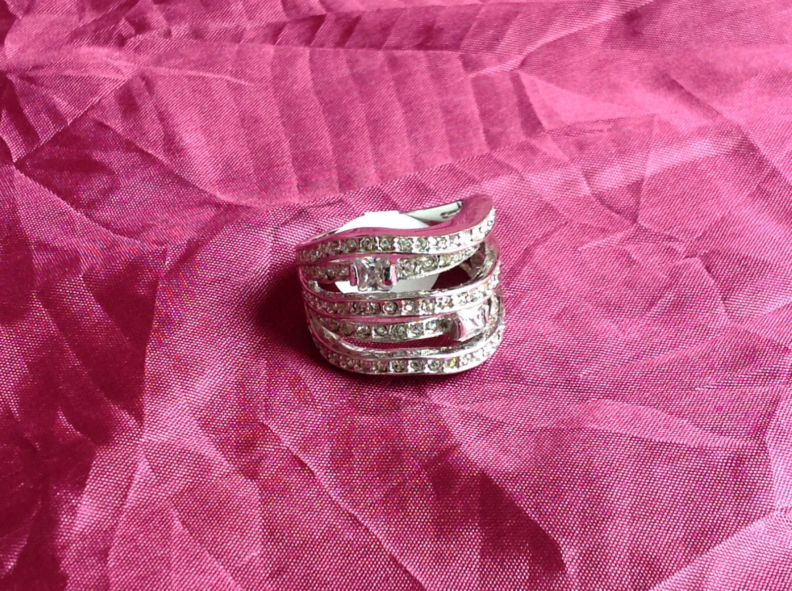 Silver Rhodium w CZ Stones Statement Ring Stacking Bands squares size choices