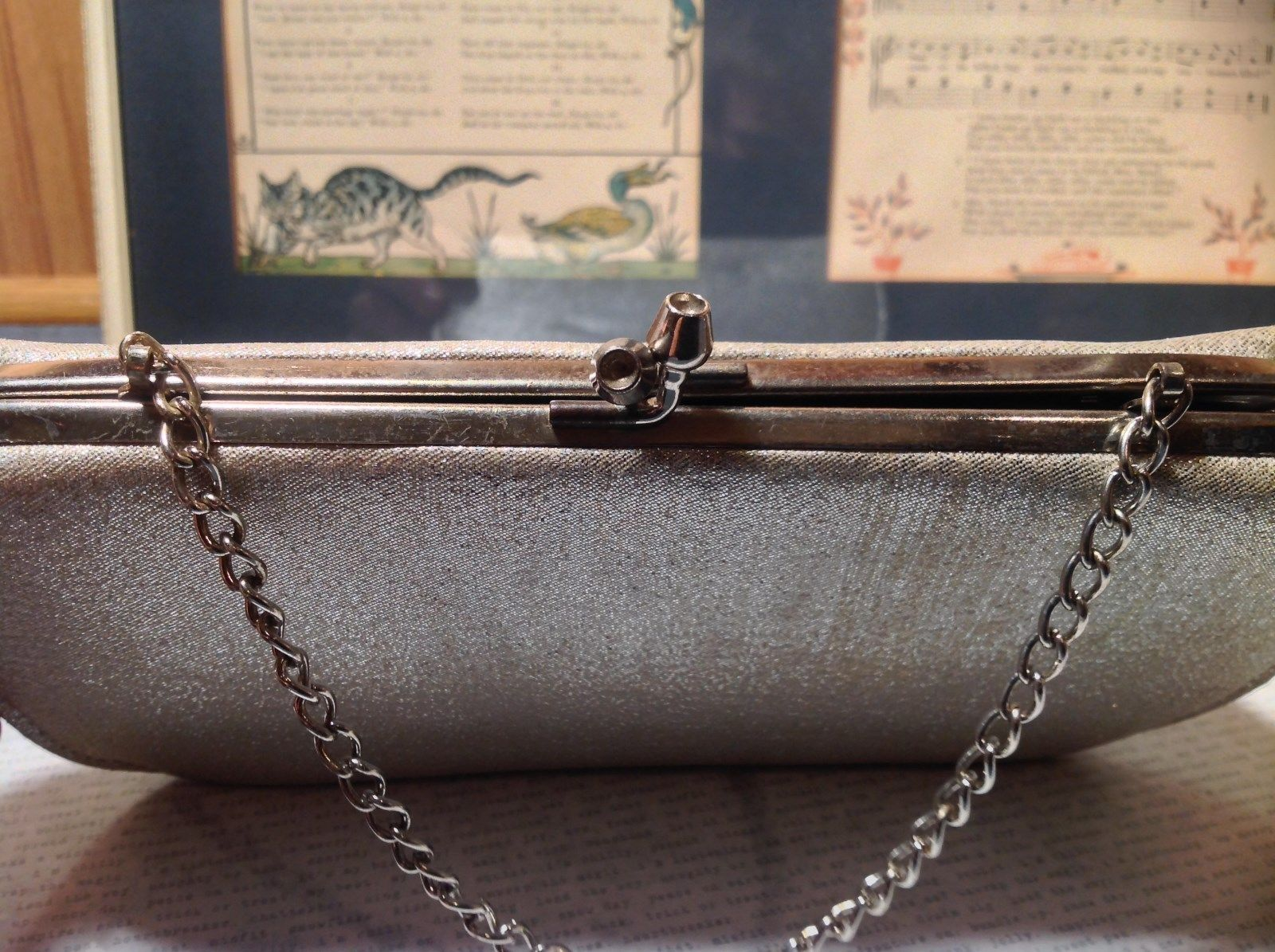 Silver Sparkly Clutch Bag with Silver Chain and Clasp