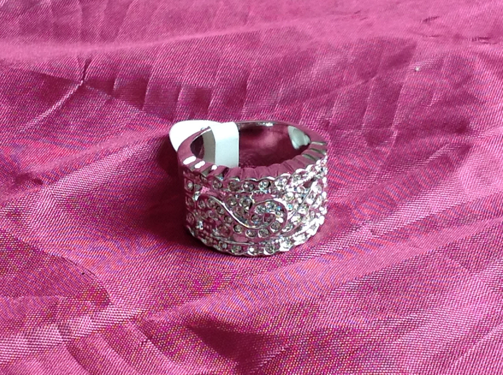 Silver Rhodium CZ Stone Statement Ring Swirl Design Wavy Design On Side Size 8