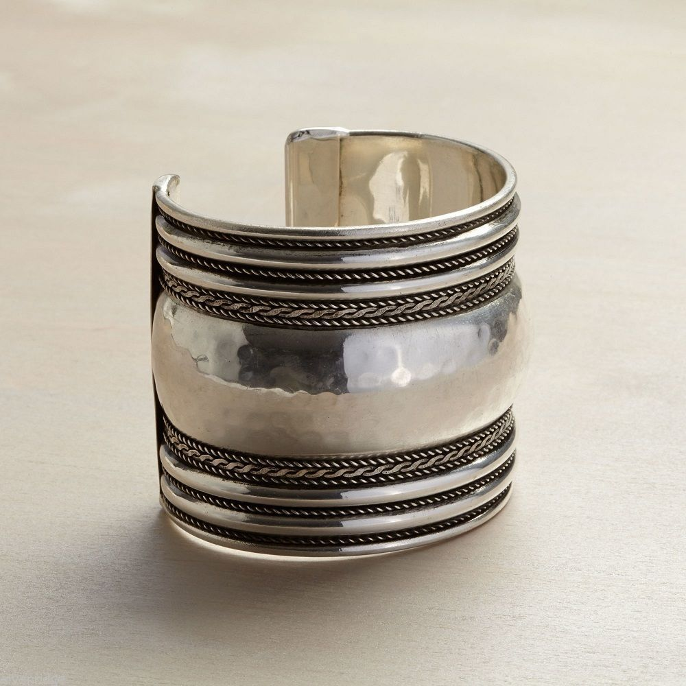 Silver Texture Cuff w antiqued finish bands